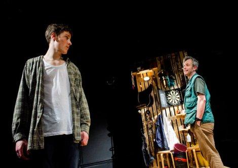 Dan Parr (Jim). David Crellin (Sam). Snuffbox Theatre Company presents Weald by Daniel Foxsmith at the Finborough Theatre. Director: Bryony Shanahan. Lighting: Seth Rook Williams. Photo (c) Alex Brenner, credit mandatory.