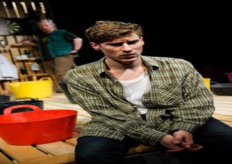 David Crellin (Sam), Dan Parr (Jim). Snuffbox Theatre Company presents Weald by Daniel Foxsmith at the Finborough Theatre. Director: Bryony Shanahan. Lighting: Seth Rook Williams. Photo (c) Alex Brenner