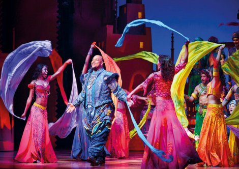 Disney Theatrical Productions under the direction of Thomas Schumacher presents Aladdin, music by Alan Menken, lyrics by Howard Ashman and Tim Rice, book and additional lyrics by Chad Beguelin at the Prince Edward Theatre London, starring: Dean John-Wilson (Aladdin), Trevor Dion Nicholas (Genie), Jade Ewen (Jasmine), Nathan Amzi (Babkak), Stephen Rahman-Hughes (Kassim), Rachid Sabitri (Omar), Don Gallagher (Jafar), Peter Howe (Iago) and Irvine Iqbal (Sultan) directed and choreographed by Casey Nicholaw PHOTOGRAPHER DEEN VAN MEER © DISNEY